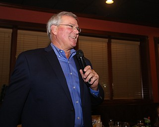 Boardman Police Chief Jack Nichols speaks at his retirement party honoring his 40 years with the department, Wednesday, Dec. 6, 2017, at Magic Tree Pub & Eatery in Boardman. Chief Nichols will officially retire on December 31...(Nikos Frazier | The Vindicator)