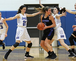 POLAND, OHIO - DECEMBER 6, 2017: Poland's Jackie Grisdale (21) and Poland's Marlie McConnell (20) defend against Lakeview's Lindsay Carnahan (2) during the 3rd qtr. at Poland High School.  MICHAEL G. TAYLOR | THE VINDICATOR