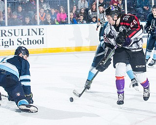 Scott R. Galvin | The Vindicator.Youngstown Phantoms center Matthew Barry (26) makes a shot on goal during the second period against the Madison Capitols on Friday, Dec. 29, 2017 at the Covelli Centre.  The Phantoms lost 4-1.