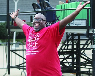 ROBERT K.YOSAY | THE VINDICATOR..The National African American Male Wellness Walk in downtown Youngstown at the Covelli Centre as community came together for a run/walk  5k....  also many tables for  community outreach and health checks..Rev Lewis macklin  ecstatic over the run walk and event.