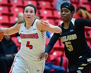 YOUNGSTOWN, OHIO - DECEMBER 30, 2017: Youngstown State's Nikki Arbanas goes to the basket against Oakland's Kha'Keya Graves during the second half of their game on Saturday afternoon at Beegley Center. Oakland won 58-48. DAVID DERMER | THE VINDICATOR