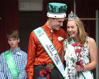 Carson Markley and Tiffany Voland smile after being crowned 2017 4-H King and Queen at the Youth Day Ceremony at the 171st Canfield Fair, Thursday, August 31, 2017, at the Canfield Fairgrounds in Canfield...(Nikos Frazier | The Vindicator)