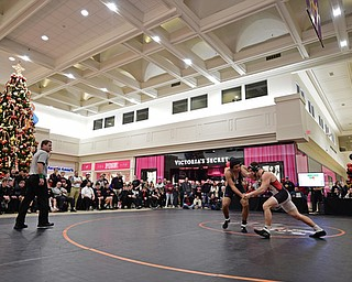 NILES, OHIO - JANUARY 3, 2018: Howland's Brandon Matlock and Canfield's Tyler Stein grapple during their 220lb bout, Wednesday nigh at the Eastwood Mall. DAVID DERMER | THE VINDICATOR