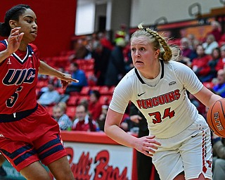 YOUNGSTOWN, OHIO - JANUARY 4, 2017: Youngstown State's McKenah Peters drives on Illinois-Chicago's Brittany Byrd during the second half of their game, Thursday night at Beeghly Center. 76-63. DAVID DERMER | THE VINDICATOR
