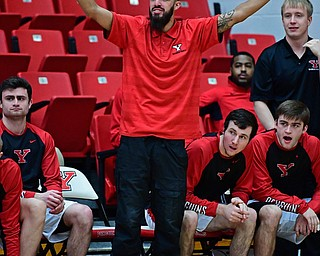 YOUNGSTOWN, OHIO - JANUARY 4, 2017: Youngstown State's Francisco Santiago stands on the bench during the second half of their game, Thursday night at Beeghly Center. DAVID DERMER | THE VINDICATOR