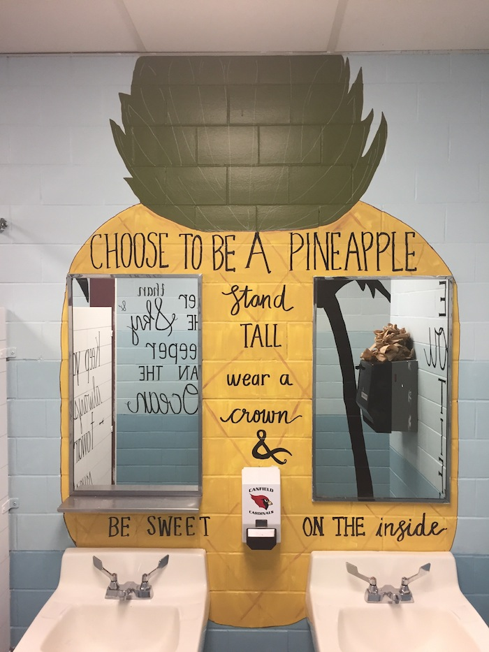 Above are some examples of the new art in the remodeled rest rooms at Canfield Village Middle School. It is hoped that the art will inspire and empower young women.