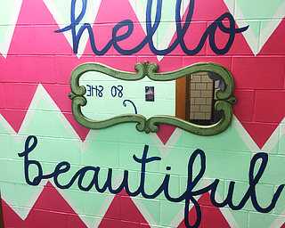 The walls and stalls in girls' restrooms at Canfield Middle School were repainted during Thanksgiving break.