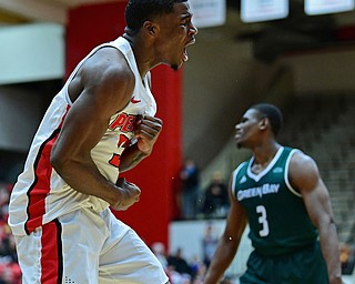 YOUNGSTOWN, OHIO - JANUARY 6, 2017: Youngstown State's Naz Bohannon celebrates after Green Bay knocked the ball out of bounds giving possession to YSU late in the second half of their game, Saturday night at Beeghly Center. DAVID DERMER   THE VINDICATOR