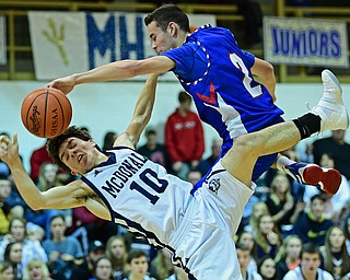 McDONALD, OHIO - JANUARY 9, 2018: McDonald's Josh Celli falls to the ground while being fouled hard by Western Reserve's Dom Velasquez during the second half of their game, Tuesday night at McDonald High School. DAVID DERMER | THE VINDICATOR