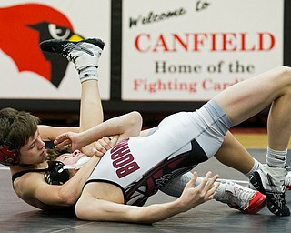 CANFIELD, OHIO - JANUARY 10, 2018: WRESTLING- Canfield's Ethan Fletcher (black, 106 lbs) pins Boardman's Sammy DeJoseph  (white, 106 lbs) at Canfield High School.  MICHAEL G TAYLOR | THE VINDICATOR