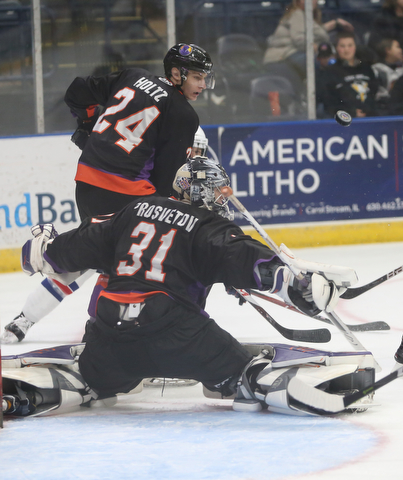 Youngstown Phantoms goalie Ivan Prosvetov (31) deflects a shot in the second period of an USHL regular season hockey game, Monday, Jan. 15, 2018, in Youngstown. Team USA won 7-1...(Nikos Frazier | The Vindicator)
