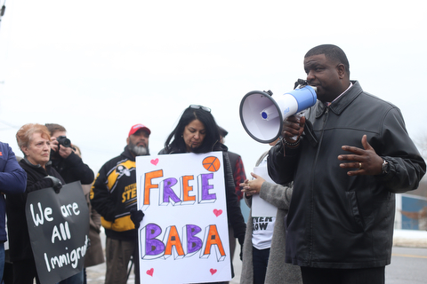 Youngstown Mayor Jamael Tito Brown speaks at a protest rally demanding the release of Al Adi, Sunday, Jan. 21, 2018, outside the Northeast Ohio Correctional Facility in Youngstown...(Nikos Frazier | The Vindicator)
