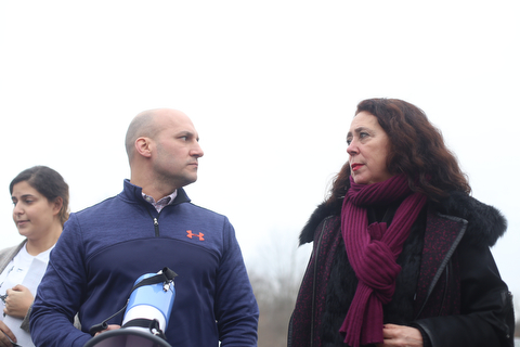 State Sen. Joe Schiavoni (D-Ohio) and State Rep. Michele Lepore-Hagan (D-Ohio) pause as close to 200 community members attend a protest rally demanding the release of Al Adi, Sunday, Jan. 21, 2018, outside the Northeast Ohio Correctional Facility in Youngstown...(Nikos Frazier | The Vindicator)