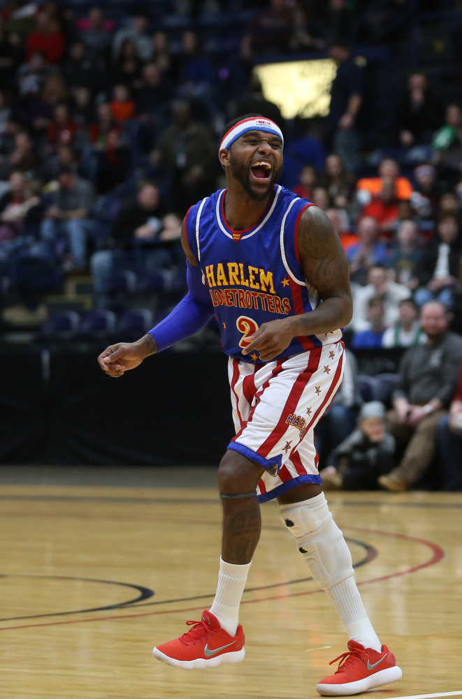 Globetrotter Dizzy dances, Jan. 24, 2018, at the Covelli Centre in Youngstown...(Nikos Frazier | The Vindicator)