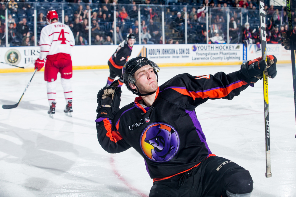 Scott R. Galvin | The Vindicator.Youngstown Phantoms right winger Chase Gresock (19) celebrates his second period goal against the Dubuque Fighting Saints at the Covelli Centre on January 27, 2018. The Phantoms won 6-5 in overtime.