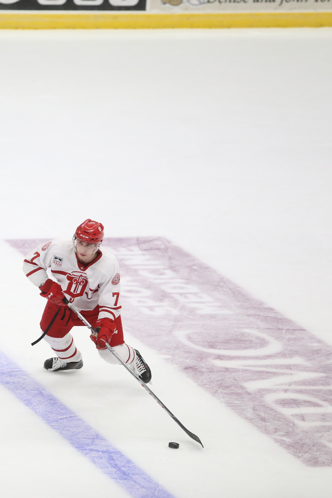 Dubuque Fighting Saints defenseman Jacob Semik (7) controls the puck in the first period of an USHL Hockey game against the Phantoms, Sunday, Jan. 28, 2018, in Youngstown. Phantoms won 2-1...(Nikos Frazier | The Vindicator)