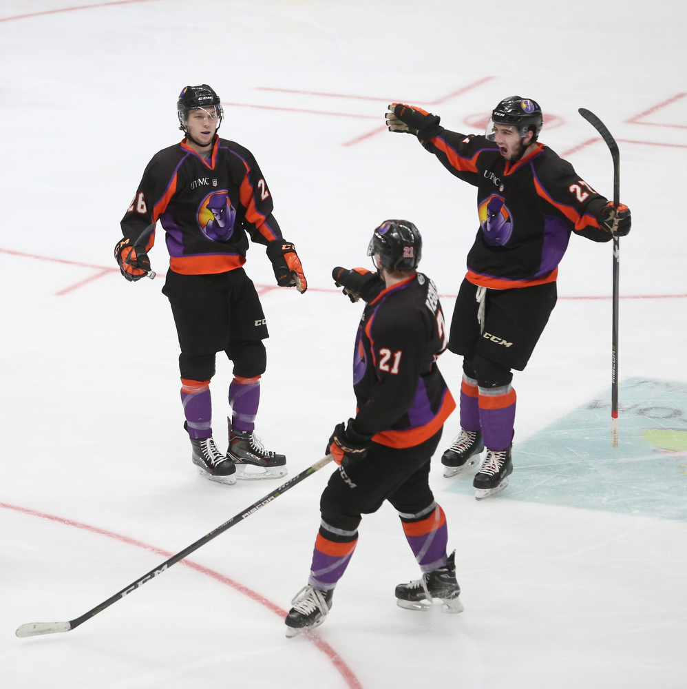Youngstown Phantoms forward Matthew Barry (26) Youngstown Phantoms left wing Matt Thompson (27) and Youngstown Phantoms center Mike Regush (21) celebrate a goal in the second period of an USHL Hockey game against Dubuque, Sunday, Jan. 28, 2018, in Youngstown. Phantoms won 2-1...(Nikos Frazier | The Vindicator)
