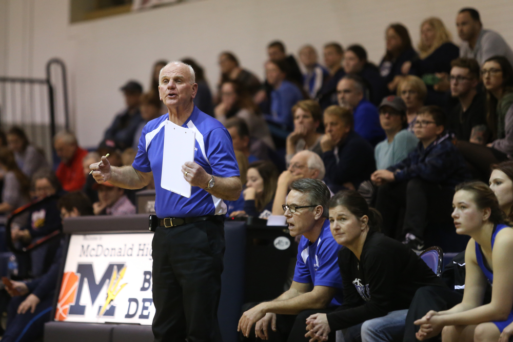 Jackson-Milton head coach Pat Keney reacts to a call in the second half of an Mahoning Valley Athletic Conference high school basketball game, Monday, Jan. 29, 2018, in McDonald. McDonald won 37-34...(Nikos Frazier | The Vindicator)