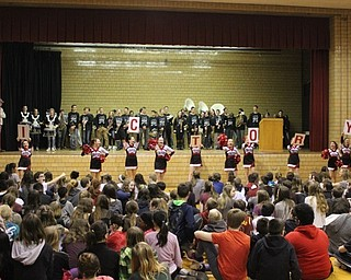 Neighbors | Abby Slanker.Accompanied by the Canfield Village Middle School pep band, the seventh- and eighth-grade cheerleaders led the V-I-C-T-O-R-Y cheer at the school's annual Winter Sports Pep Assembly on Jan. 26.