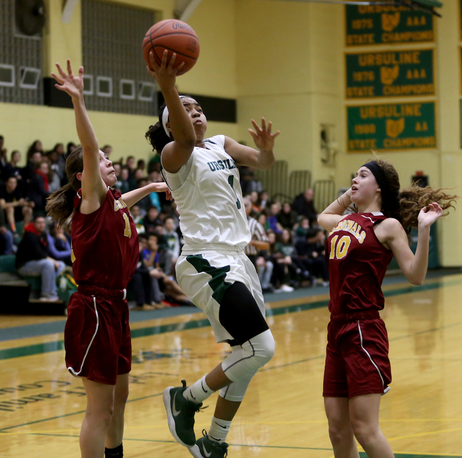 Ursuline's Dayshonette Harris (1) goes up for a layup in the second quarter of an OSHAA basketball game, Thursday, Feb. 1, 2018, in Youngstown. Ursuline won 76-54...(Nikos Frazier | The Vindicator)