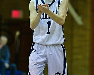McDONALD, OHIO - FEBRUARY 6, 2018: McDonald's Zach Rasile claps after hitting a three point shot during the second half of their game on Tuesday night at McDonald High School. DAVID DERMER | THE VINDICATOR