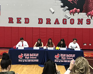 left to right Marco DeFalco-YSU (baseball), Bethany Rasile Pitt (soccer), Bella Reigle-Baldwin Wallace (soccer), Aundrea Scattino Baldwin Wallace (soccer) and Preston Tuner-Westminster (football).