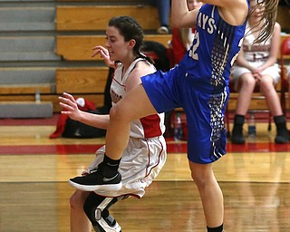 Jackson-Milton guard Michaelina Terranova (22) goes up for a layup in the first quarter of an OHSAA high school basketball game, Thursday, Feb. 8, 2018, in Columbiana. Columbiana won 36-23...(Nikos Frazier | The Vindicator)