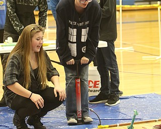 ROBERT K.YOSAY  | THE VINDICATOR..321 Blast off as  the air rocket with Maray Kavalesky and Darcy Young 10 and 11 th graders..A few hundred Hubbard High School students spent Friday at the schoolÕs STEM Festival where they put their creativity and STEM knowledge to the test. Students could choose to participate in contests including bridge building, creating and testing a trebuchet and an egg drop...-30-