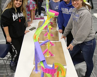 ROBERT K.YOSAY  | THE VINDICATOR..Completed roller coaster- Kayla Chmelik 11th- Cheyenne Whitacre 11 - Aspen Bell 11 - Hannah Johns 10- Kyleigh Johnson 10 and Cassady  Herberger 10 ..A few hundred Hubbard High School students spent Friday at the schoolÕs STEM Festival where they put their creativity and STEM knowledge to the test. Students could choose to participate in contests including bridge building, creating and testing a trebuchet and an egg drop...-30-