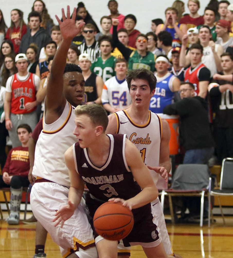 ROBERT  K. YOSAY | THE VINDICATOR..Boardmn at Cardinal Mooney ..Carey Palermo Mooney Coach# 3 holden lipke drives by #0 Terrel Brown ad #11  Anthony Fire