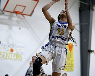 Valley Christian's Imane Snyder (11) goes up for a breakaway layup in the fourth quarter of an OHSAA high school basketball game, Saturday, Feb. 10, 2018, in Youngstown. Garfield won 64-58...(Nikos Frazier | The Vindicator)