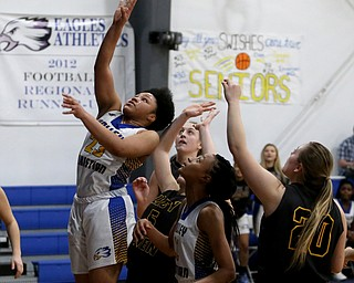 Valley Christian's Ne'Syiah Taylor (23) goes up for two under the net in the fourth quarter of an OHSAA high school basketball game, Saturday, Feb. 10, 2018, in Youngstown. Garfield won 64-58...(Nikos Frazier | The Vindicator)