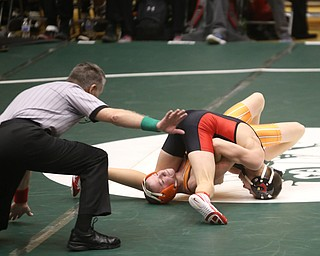 Canfield 106 pound wrestler Ethan Fletcher pins Claymont 106 pound wrestler T.J. Zurcher in the quarter finals of the OHSAA State Wrestling Dual Team Tournament, Sunday, Feb. 11, 2018, at Ohio State University's St. John Arena in Columbus...(Nikos Frazier | The Vindicator)