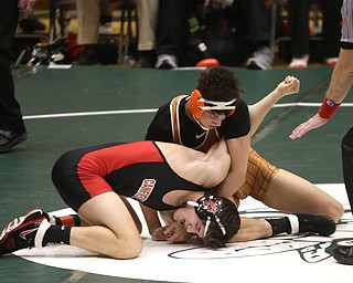 Canfield 160 pound wrestler Ben Cutrer is temporarily pinned by Claymont 160 pound wrestler Kaden Bunting in the quarter finals of the OHSAA State Wrestling Dual Team Tournament, Sunday, Feb. 11, 2018, at Ohio State University's St. John Arena in Columbus...(Nikos Frazier | The Vindicator)
