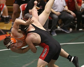 Canfield 220 pound wrestler Tyler Stein throws Claymont 220 pound wrestler Kole Aubiel to the mat in the quarter finals of the OHSAA State Wrestling Dual Team Tournament, Sunday, Feb. 11, 2018, at Ohio State University's St. John Arena in Columbus...(Nikos Frazier | The Vindicator)