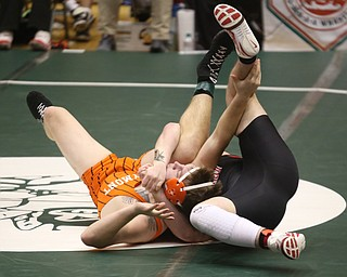 Canfield 285 pound wrestler Daniel Kapalko pins Claymont 285 pound wrestler Lyle Clark in the quarter finals of the OHSAA State Wrestling Dual Team Tournament, Sunday, Feb. 11, 2018, at Ohio State University's St. John Arena in Columbus...(Nikos Frazier | The Vindicator)