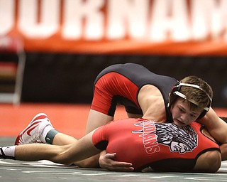 Canfield 106 pound wrestler Ethan Fletcher pins Wauseon 106 pound wrestler Damon Molina in the semi finals of the OHSAA State Wrestling Dual Team Tournament, Sunday, Feb. 11, 2018, at Ohio State University's St. John Arena in Columbus...(Nikos Frazier | The Vindicator)