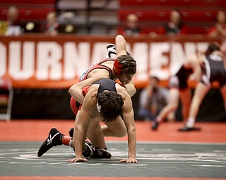 Wauseon 113 pound wrestler Gavin Ritter controls Canfield 113 pound wrestler Ronald Angelilli from behind in the semi finals of the OHSAA State Wrestling Dual Team Tournament, Sunday, Feb. 11, 2018, at Ohio State University's St. John Arena in Columbus...(Nikos Frazier | The Vindicator)