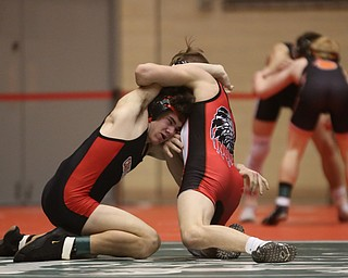 Wauseon 126 pound wrestler Nolan Ray attempts to pin Canfield 126 pound wrestler McCoy Watkins in the semi finals of the OHSAA State Wrestling Dual Team Tournament, Sunday, Feb. 11, 2018, at Ohio State University's St. John Arena in Columbus...(Nikos Frazier | The Vindicator)