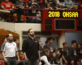 Canfield head coach Stephen Pitts reacts to a pin in the semi finals of the OHSAA State Wrestling Dual Team Tournament, Sunday, Feb. 11, 2018, at Ohio State University's St. John Arena in Columbus...(Nikos Frazier | The Vindicator)