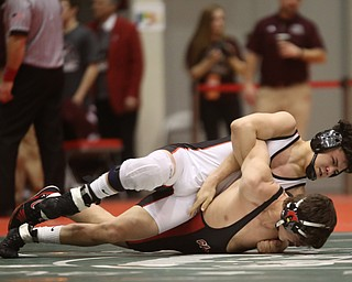 Wauseon 160 pound wrestler Sandro Ramirez attempts to pin Canfield 160 pound wrestler Ben Cutrer in the semi finals of the OHSAA State Wrestling Dual Team Tournament, Sunday, Feb. 11, 2018, at Ohio State University's St. John Arena in Columbus...(Nikos Frazier | The Vindicator)