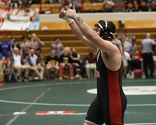 Canfield 285 pound wrestler Daniel Kapalko encourages the Canfield spectators in the semi finals of the OHSAA State Wrestling Dual Team Tournament, Sunday, Feb. 11, 2018, at Ohio State University's St. John Arena in Columbus...(Nikos Frazier | The Vindicator)