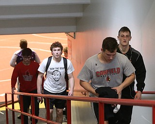 The Canfield wrestling team exits the arena floor after loosing to Wauseon, 33-28, in the semi finals of the OHSAA State Wrestling Dual Team Tournament, Sunday, Feb. 11, 2018, at Ohio State University's St. John Arena in Columbus...(Nikos Frazier | The Vindicator)