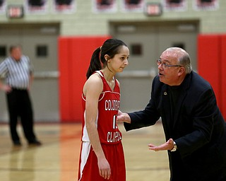 Columbiana head coach Ron Moschella yells at Columbiana's Grace Hammond (10) in the second quarter of an OHSAA high school basketball game, Monday, Feb. 12, 2018, in Struthers. Struthers won 61-52...(Nikos Frazier | The Vindicator)