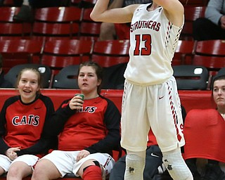 Struthers' Alexis Bury (13) goes up for three in the fourth quarter of an OHSAA high school basketball game, Monday, Feb. 12, 2018, in Struthers. Struthers won 61-52...(Nikos Frazier | The Vindicator)