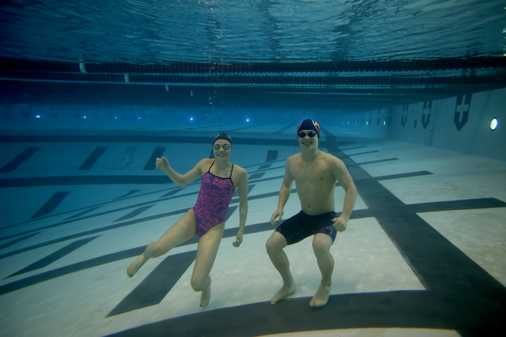 Jake Lawrence and Gia Direnzo pose for a photo, Wednesday, Feb. 14, 2018, at the Youngstown State University Natatorium in Youngstown...(Nikos Frazier | The Vindicator)