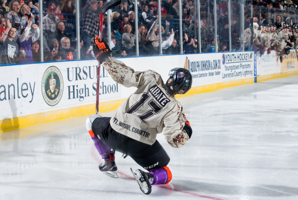 Scott R. Galvin | The Vindicator.Youngstown Phantoms left wing Joey Abate (17) celebrates his second period goal against the Waterloo Black Hawks at the Covelli Centre on Saturday, February 17, 2018.