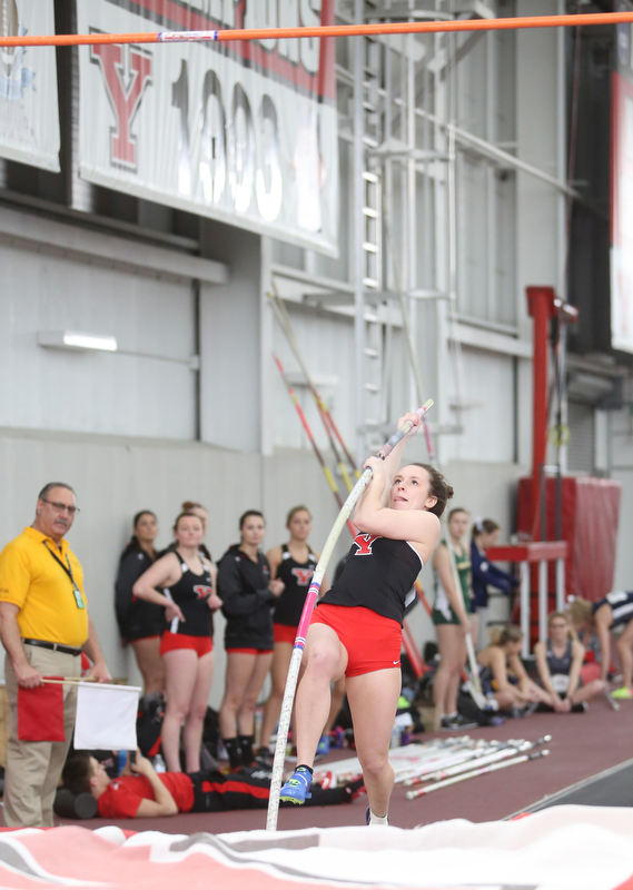 Youngstown pole vaulter Denise Machamer during the first day of the 2018 Horizon League Indoor Championships, Saturday, Feb. 24, 2018, in Youngstown...(Nikos Frazier | The Vindicator)