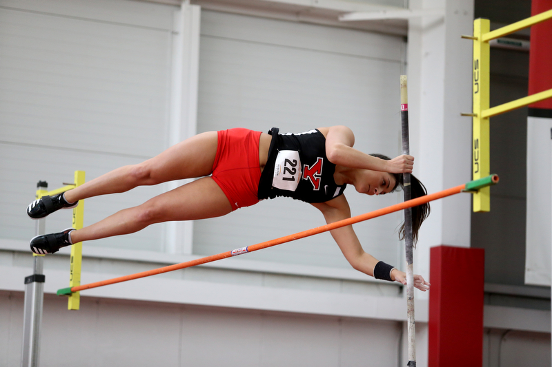 Youngstown pole vaulter Caitlyn Trebella clears the bar during the first day of the 2018 Horizon League Indoor Championships, Saturday, Feb. 24, 2018, in Youngstown...(Nikos Frazier | The Vindicator)