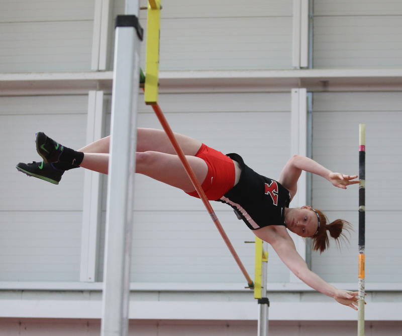 Youngstown pole vaulter Katlyn Griffie clears the bar during the first day of the 2018 Horizon League Indoor Championships, Saturday, Feb. 24, 2018, in Youngstown...(Nikos Frazier | The Vindicator)